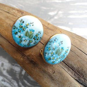 Blue Floral Circle Earrings Vintage Clip on